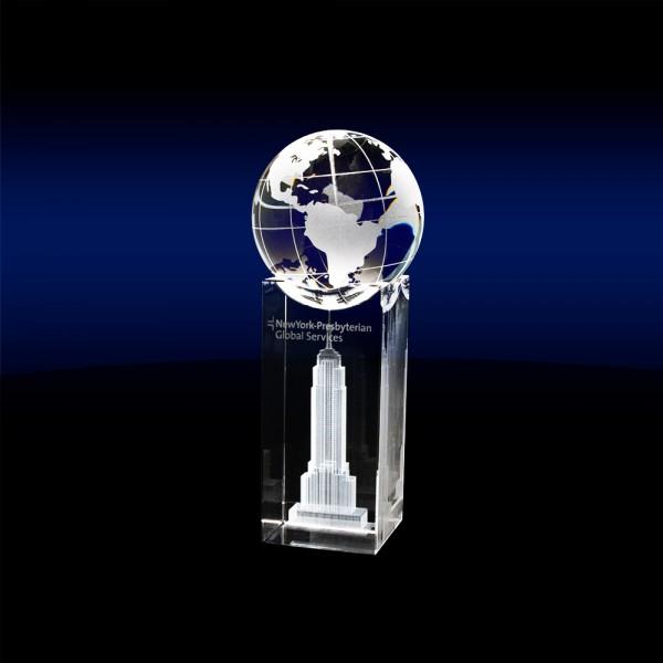 Globe on Block - Medium