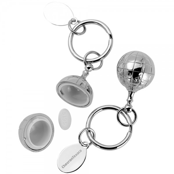 Globe Pillbox Keychain