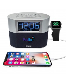 iHome Bluetooth FM Clock Radio with Apple Watch Charging, Speakerphone & USB Charging