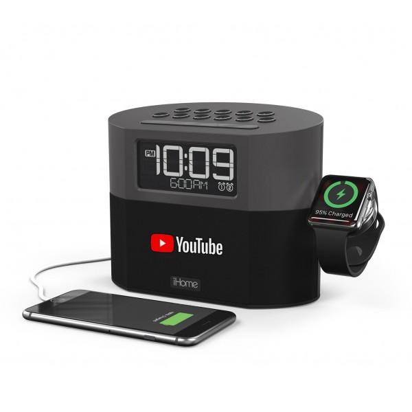 iHome Bluetooth FM Clock Radio with Apple Watch Charging, Speakerphone & USB Charging
