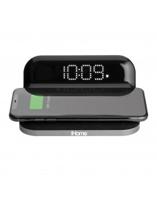 iHome iW18 Compact Alarm Clock with Qi Wireless Charging and USB Charging